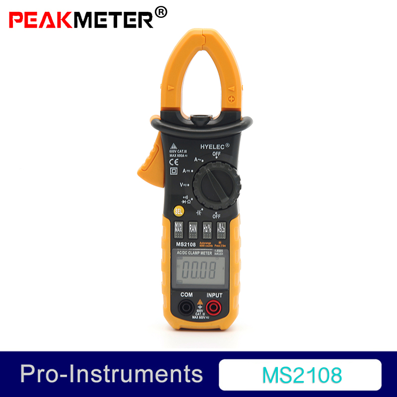 Peakmeter MS2108 AC DC Mini Digital Clamp True RMS Inrush Current Resistance Capacitance Frequency Clamp Meter aimometer ms2108 true rms clamp meter ac dc current voltage capacitor resistance tester