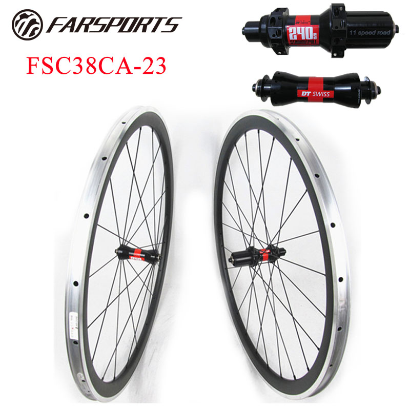 Alloy carbon 38mm 23mm clincher wheelset for racing , Farsports FSC38-CA-23 alloy carbon bike wheels with DT 240s SP hubs farsports fsc38 tm 23 carbon cycling wheels 23mm 38mm tubular rims dt 240s hubs with sapim cx ray spokes total 1189g per set