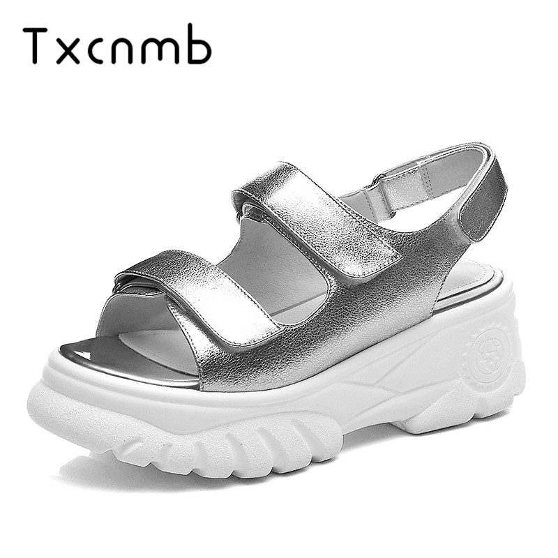 TXCNMB shoes women 2019 genuine platform leather women sandals summer shoes simple comfortable casual shoes sandals shoesTXCNMB shoes women 2019 genuine platform leather women sandals summer shoes simple comfortable casual shoes sandals shoes
