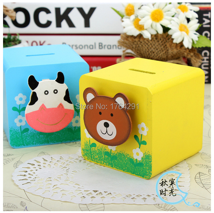 Us 6 28 Cute Cartoon Animal Wooden Money Box 1 Pcs Yellow Blue Donation Box And Piggy Bank Innovative Design 115g Free Shipping In Money Boxes From