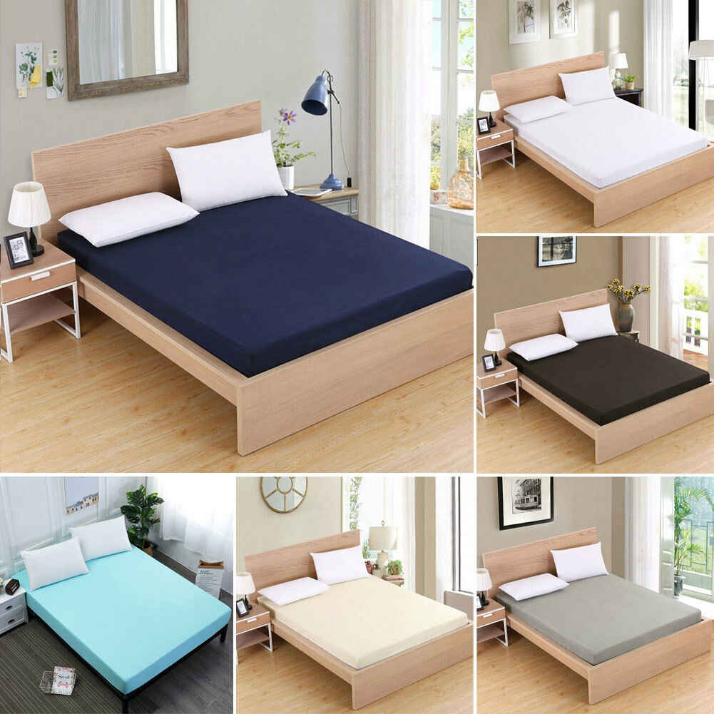 2019 Solid Bedspread Fitted Sheet Elastic Sheets Single Double King Queen Cotton Bed Coverlet Sheet Cover Bedspreads Apartment