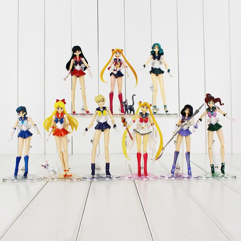 Sailor Moon Tsukino Usagi Mars Jupiter Venus Mercury Saturn Uranus Neptune 15Cm Pvc Action Figures Kids Toys for Children Gifts gray j mars and venus in the bedroom