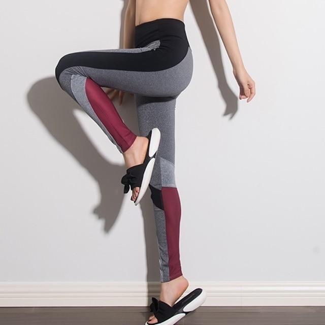 aa256d395607d0 U18090 Super Elastic Block Color Gym Tights Yoga Pants Women High Waist  Sport Leggings Running Pants