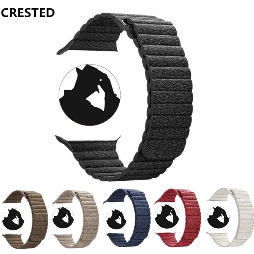 CRESTED Laccio di Cuoio Per Apple Watch band 42mm/38mm cinghia di correa iwatch serie 4 3 2 1 44mm/40mm cinturino da polso della cinghia del braccialetto