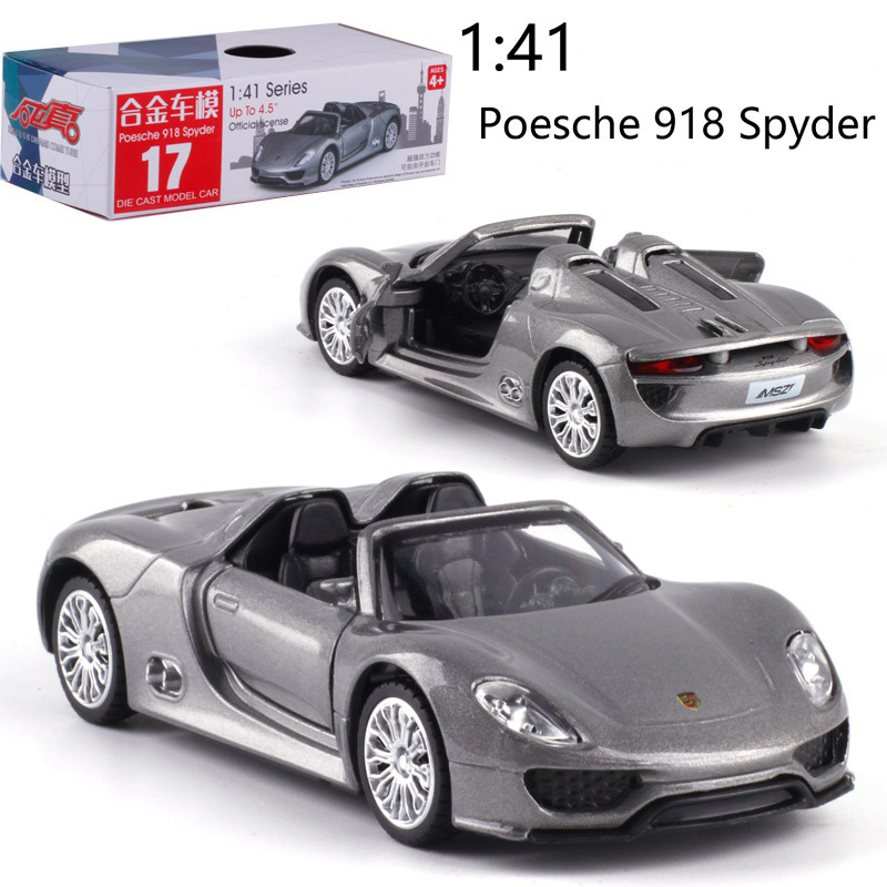 1:41 Scale Porsche918 Alloy Pull-back car Diecast Metal <font><b>Model</b></font> Car For Collection Friend Children Gift image