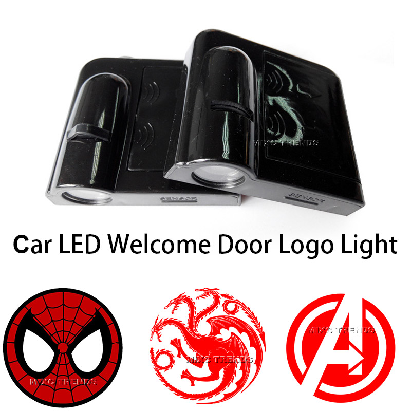 2 Siperman Avengers Game of Thrones WIRELESS LED CAR DOOR WELCOME LIGHT 2 LED Lights 2 pcs fc barcelona wireless led car door projectors
