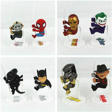 New Arrival clássico filme papel super herói Batman Ironman Spiderman Jason Freddy Predator palhaço bonito Scalers estrangeiro figura Toy(China)