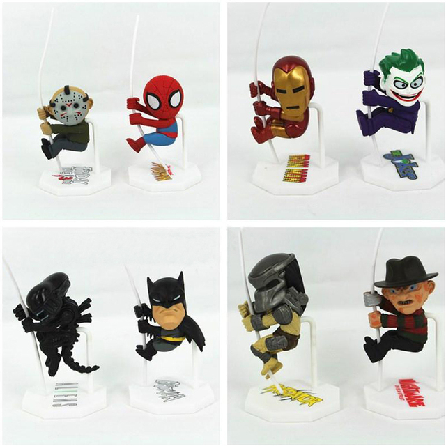 New Arrival clássico filme papel super herói Batman Ironman Spiderman Jason Freddy Predator palhaço bonito Scalers estrangeiro figura Toy