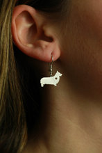 Min 1 Pair Handmade Jewelry Corgi Earrings Dog Studs Silver Dog Charms Dangle Charm Memorial Mothers Day Gift For Women Lovers