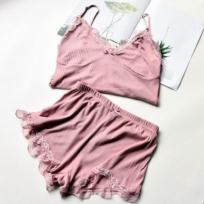 Two Piece Cotton Pajama Set Sexy Lace Top And Shorts Pyjamas Spaghetti Strap Sleepwear High Elastic Pijama Nightie Home Clothes 8