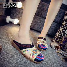 Fashion slippers shoes women Chinese embroidery casual shoes Retro flip flops sandals oxford shoes for women