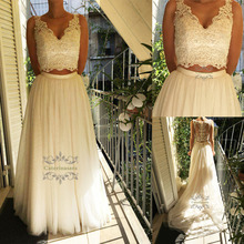 Sexy Two 2 Pieces Crop Top Wedding Dresses Sexy V Neckline Light Tulle A Line Bride Gowns Chapel Train for Garden Wedding Party v neckline basic top