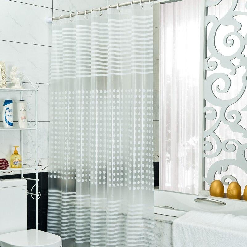 Nouveau rideau de douche imperméable à l'eau à motif de rayures transparentes épaississement rideau de bain PEVA avec crochets produit de salle de bain