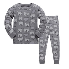 Купить с кэшбэком Kids Pajamas Sets boys bear pattern night suit Children cartoon Sleepwear Girls Pyjamas kids 100% Cotton nightwear size 2-7Y