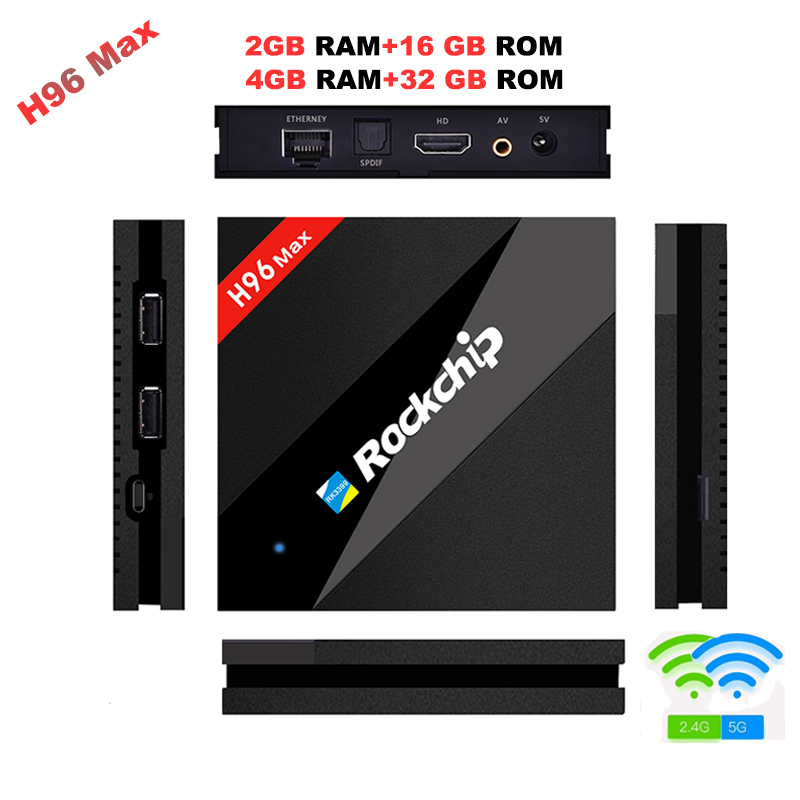 H96 MAX Best Rockchip RK3399 Android 7.1 TV Box 4GB RAM 32GB ROM 6 Core 2.4/5Ghz Wifi H.265 Smart BT4.0 set top box Media player