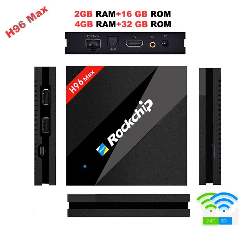 H96 MAX Meilleur Rockchip RK3399 Android 7.1 TV Box 4 GB RAM 32 GB ROM 8 Core 2.4/5 Ghz Wifi H.265 Smart BT4.0 set top box Media lecteur