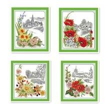 Всесезонные цветы, весенние цветы, Маки Qiuju, рождественские красные 11CT ручной работы, шитье, вышивка крестиком, вышивка
