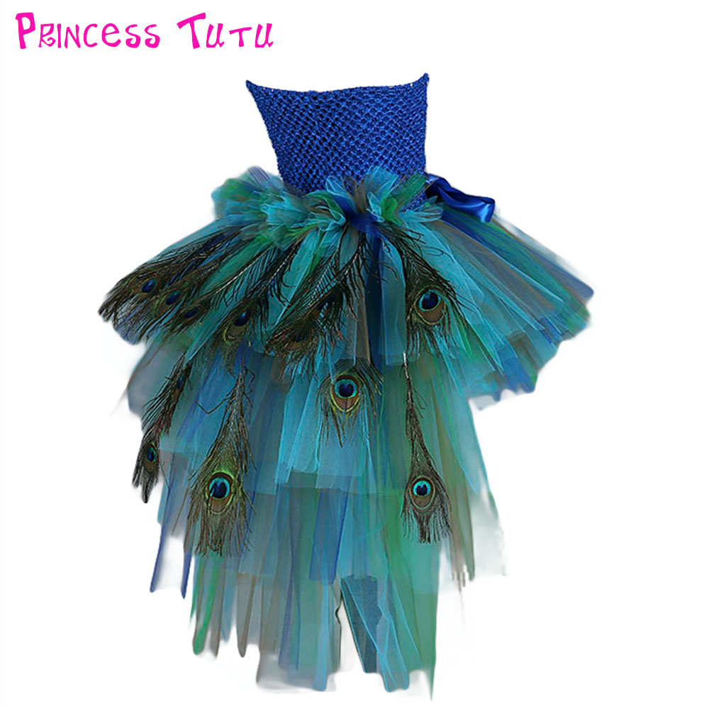 Elegant Feather Peacock Girl Wedding Tutu Dress Kids Knee Length Formal Birthday Party Ball Gown Tutu Dresses For Photo Props