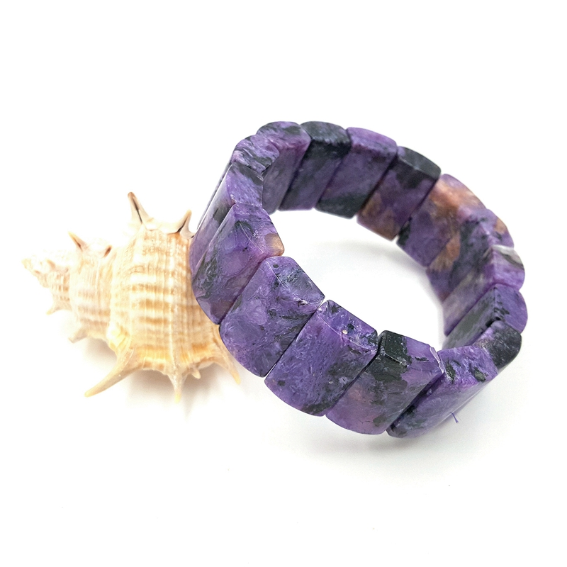Bracelet en Charoite violette en pierre naturelle environ 12x20x7mm pour femmes longueur de bijoux de mode environ 7.5''