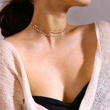 Copper Bead Necklace New Bohemian Style Multi Layer Necklaces for Women Fashion Clavicle Chain Set