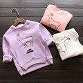 Nuevo 2015 otoño e invierno más el terciopelo animales warm patrón de las muchachas encapuchados ocasionales niños pullover traje 2 ~ 7 age bebé de la muchacha