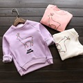 new 2015 autumn winter Plus velvet warm animal pattern girls hooded casual children pullover suit 2~7 age baby girl t shirts