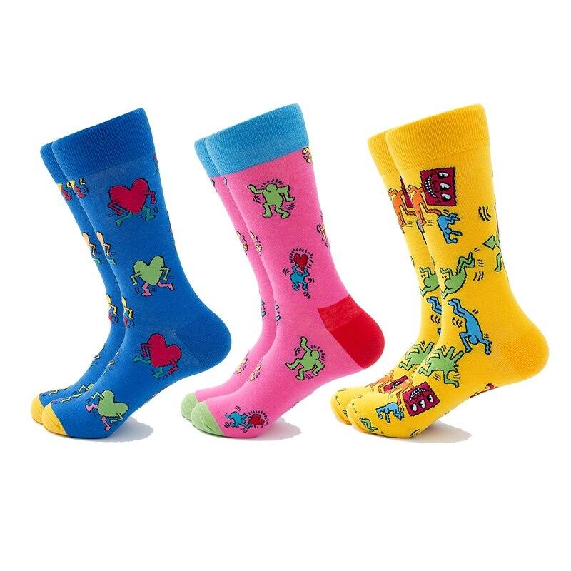 6 Pairs Men Socks Set Street Art Funny Socks 3D Paint Skateboard Gift Colorful Compression Crew Socks Fashion Long High Socks