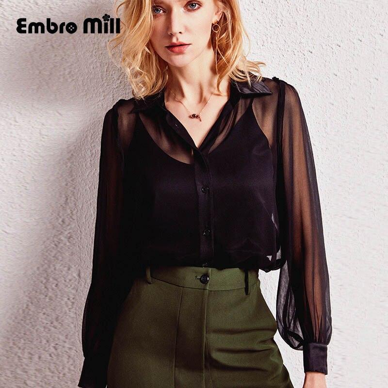 Haut de gamme printemps rafraîchissant chemise en soie noir/rouge femmes mince simple boutonnage mode élégante lanterne manches dame petit haut S-XL