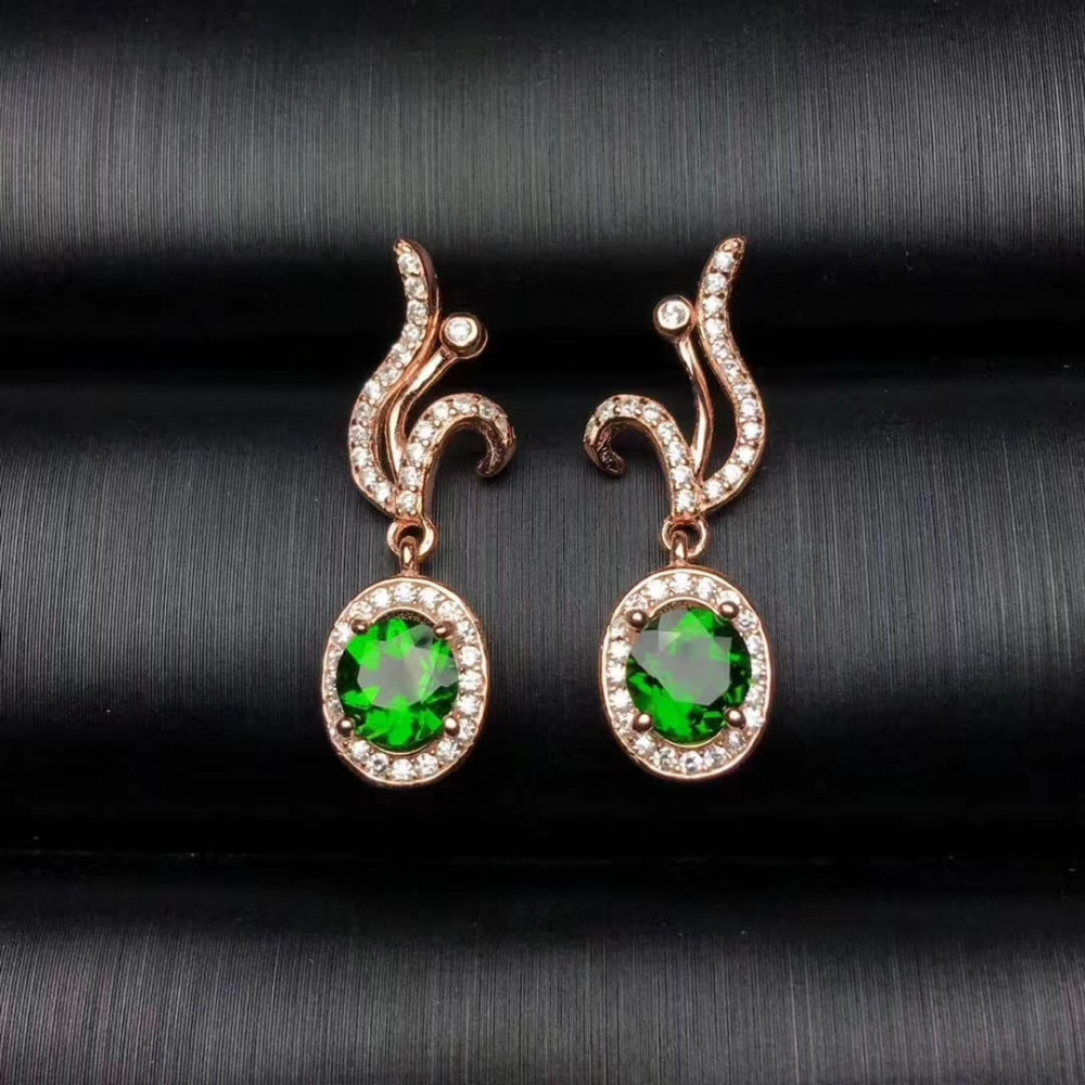 все цены на natural green diopside stud earrings 925 silver natural green gemstone earrings women fashion Elegant flame Earrings for party онлайн