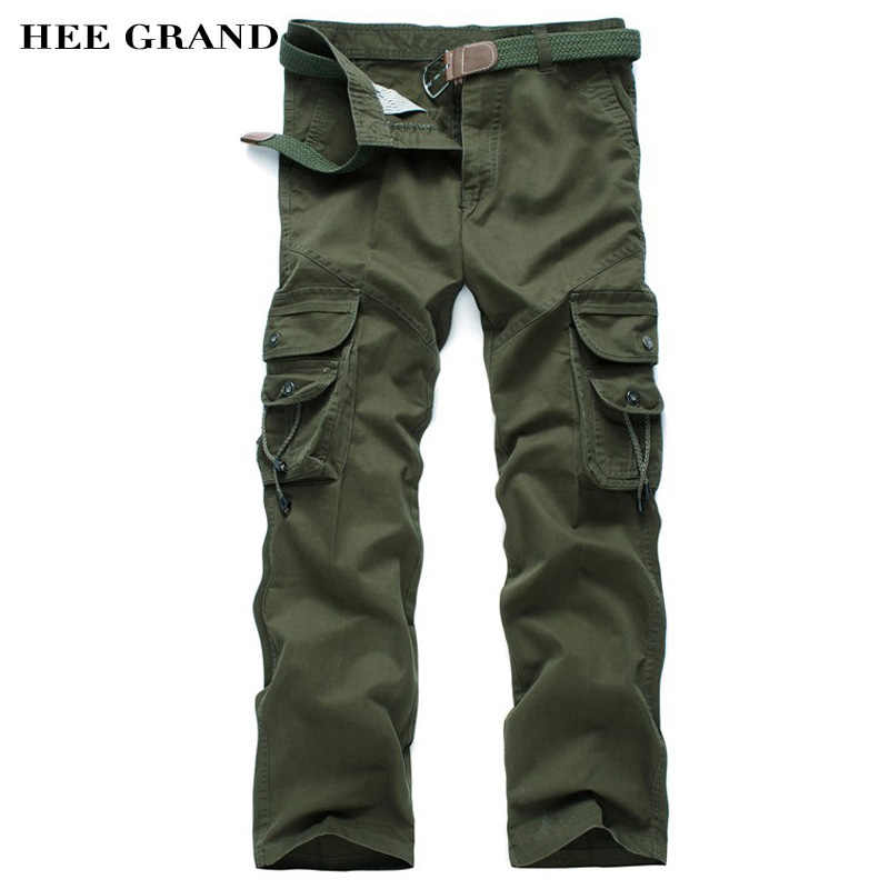 2791dfb98 HEE GRAND Men Casual Cargo Pants Mid-waist Multi-pockets Full Length Autumn  Whole