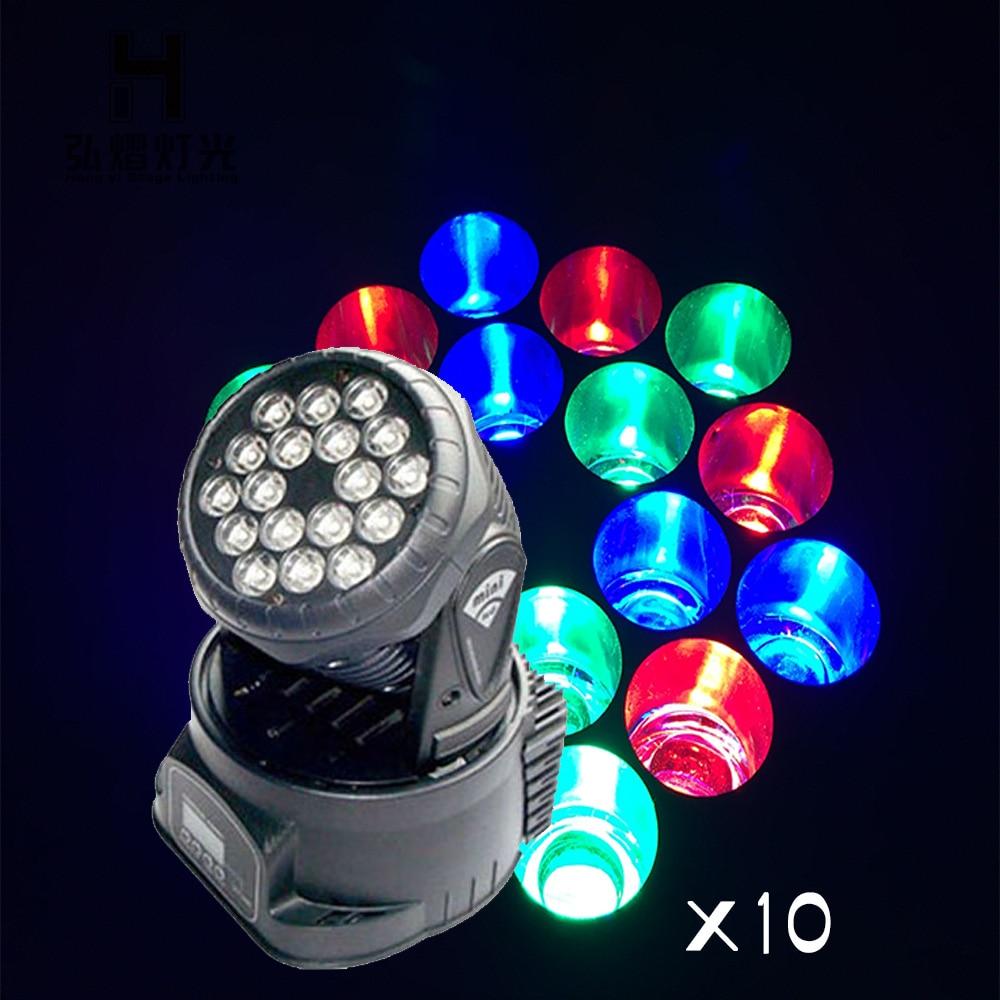 10pcs/lot 18x3w RGB LED mini Moving Head Light professional Beam Light For Event Disco Party10pcs/lot 18x3w RGB LED mini Moving Head Light professional Beam Light For Event Disco Party