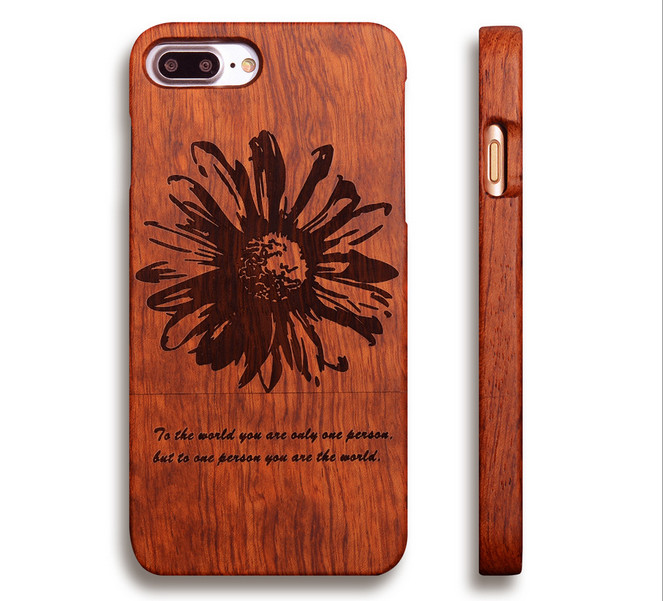Laser Carving 100% Natrual Bamboo Wood Case for iPhone 7 Cases Mobile Phone Real Wooden Cover for iPhone7 Plus Hard Covers +film