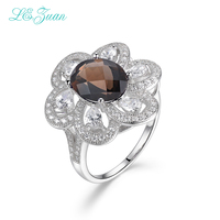 I Zuan 925 Sterling Silver Jewelry Ring Natural Smoky Quartz Romantic Luxury Rings Brown Stone Ring