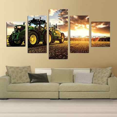 5 piece canvas print painting Autumn Tractor Harvester Farm Landscape Canvas picture decor print poster wall art  home decor