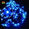 Cereja flor de Pessegueiro Flor Fariy LED Solar Luz Cordas 7 M 50LED Festa Ao Ar Livre Decoração de casamento de Natal de Ano Novo de Aniversário