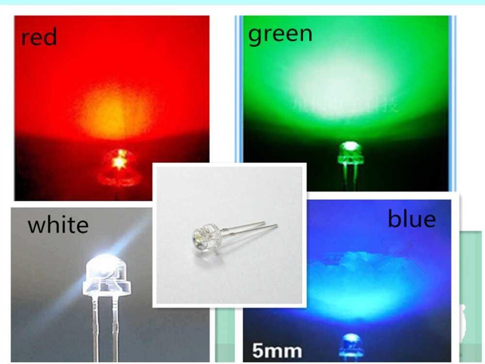 1000 Pcs/lot 5mm Straw Hat Led Diode LED Yellow Red Blue Green White (F 4.8mm) 1600mcd Leds Light Emitting Diodes Mix Color Kit