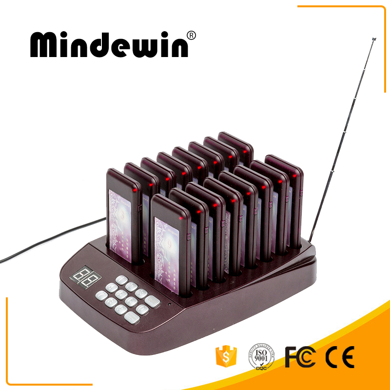 Mindewin Restaurant Queue Management System 433MHz Wireless Call Coaster Pager With 16 Call Pagers