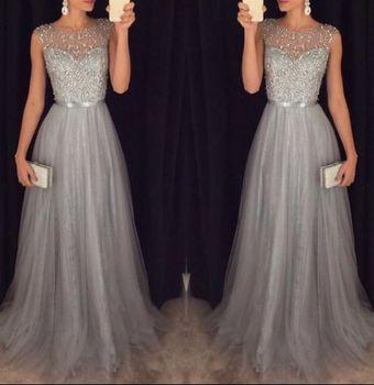Gray Muslim Evening Dresses 2019 A-line Cap Sleeves Tulle Beaded Plus Size Islamic Dubai Saudi Arabic Long Formal Evening Gown