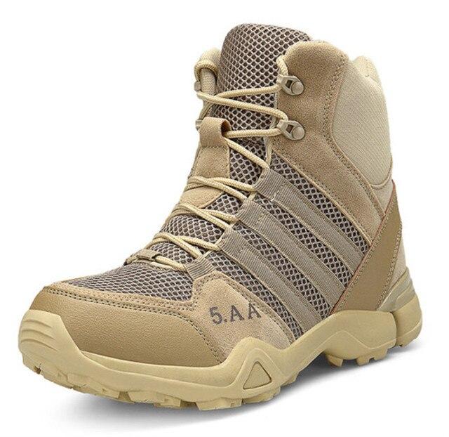 Kış/Sonbahar Erkekler Kaliteli Marka Askeri Deri Çizmeler Özel Kuvvet Taktik Çöl Savaş Botları Açık Ayakkabı Kar Botları