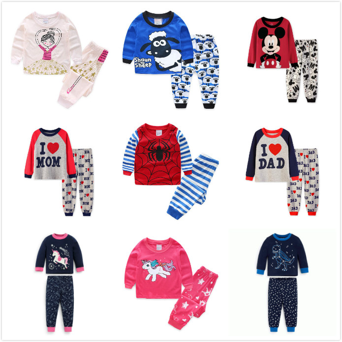 2018 Children   pajamas     sets   kid boys sleevewear baby girl cartoon long sleeve   pajamas   Tops+pants 2pcs Children cLothing   set