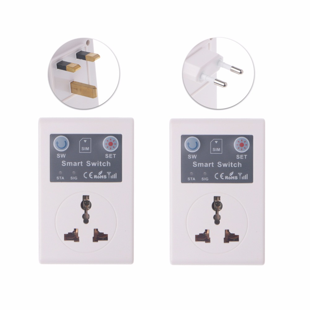 EU/UK 220V Phone RC Remote Wireless Control Smart Switch GSM Socket Power Plug socket