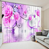 Modern Home Decor Custom 3D Photo purple rose flower Bedding room 3D Curtains Bedding room 3D Curtains