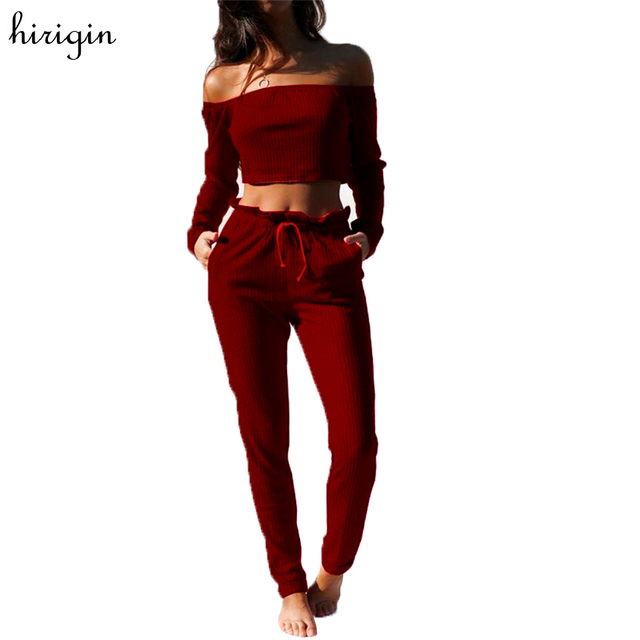 a90ad4673535e Two-piece Women Knitted Crop Top Blouse Off Shoulder Shirt Long Pants  Trouser Outfits Casual Women Burgundy Sets