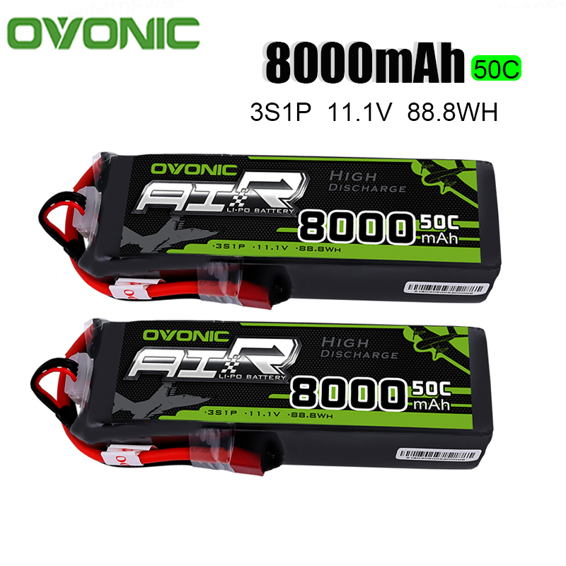 2PCS Ovonic <font><b>LiPo</b></font> Battery <font><b>8000mAh</b></font> 11.1V <font><b>LiPo</b></font> <font><b>3S</b></font> 50C-100C Battery Pack T XT60 Plug for Big Size RC Helicopter Truck Quad Drone image