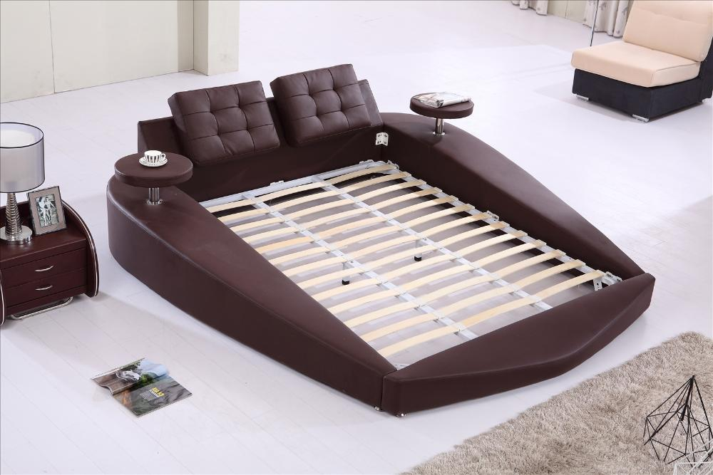 Round Bed King Size Top Grain Leather Headrest Soft Bedroom Furniture With Tea Table On Side B72 In Beds From