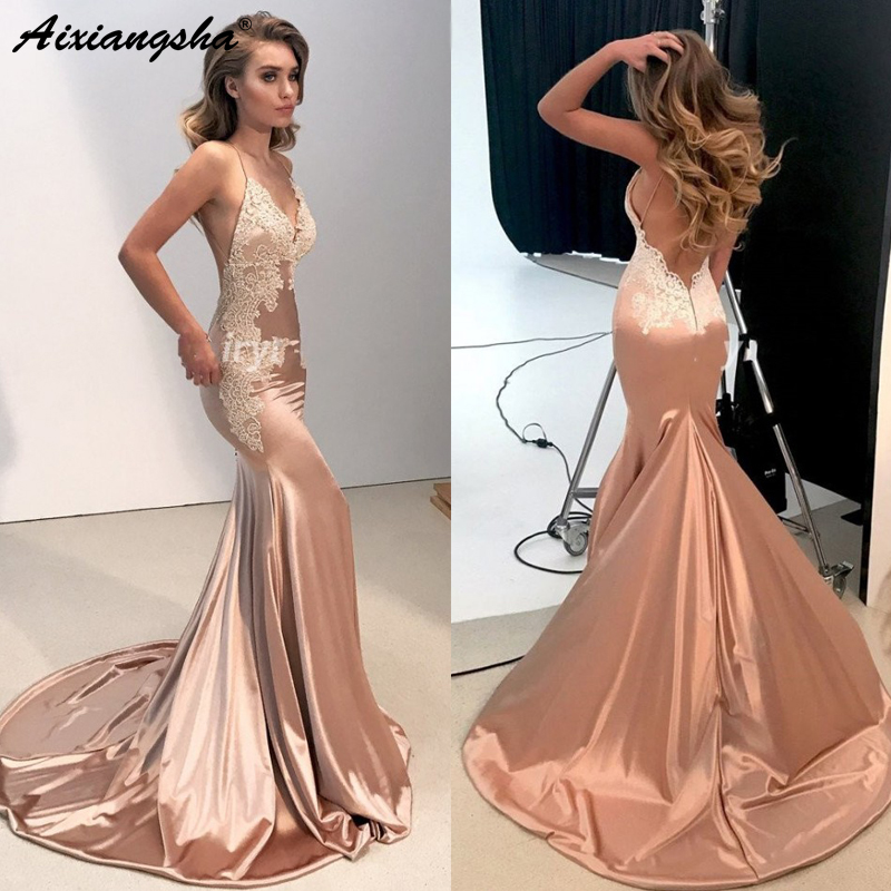 Weddings & Events Elegant Champagne Chiffon Evening Dresses 2019 Black Appliques Slim Cut Backless Mermaid Formal Party Gown Vestido Longo Kaftan