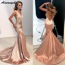 цены Sexy Formal Dress Women Elegant vestidos de fiesta Applique Open Back V-Neck Spaghetti Straps Satin Mermaid Evening Dress 2019