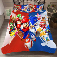 HELENGILI 3D Bedding Set Mario Print Duvet Cover Set Bedcloth with Pillowcase Bed Set Home Textiles #MLA 18