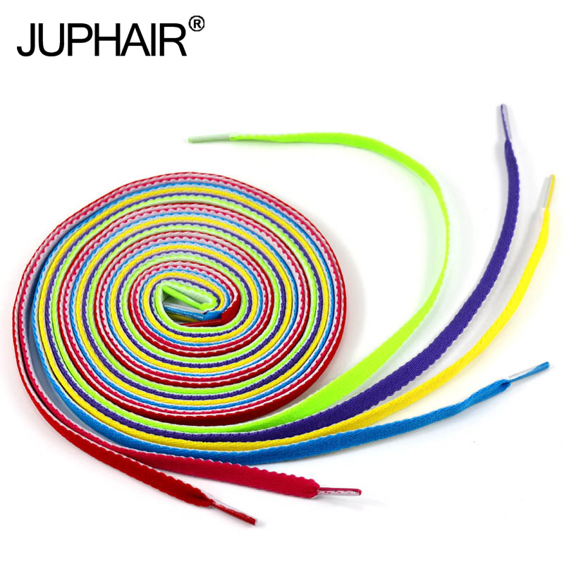 JUP12 Pairs Men Women Flat Laces Polyester Casual Color for Footwear Athletic Shengdai Board Shoe Shoelaces Shoestring 120-140cm jup 50 pairs sneaker shoelaces skate boot laces outdoor sport casual multicolor bumps round shoelace hiking slip rope shoe laces