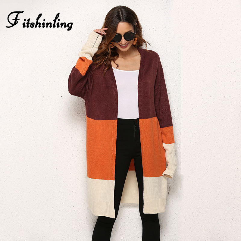 Fitshinling Patchwork Female Cardigans Invierno 2019 Mujer Knitwear Fashion Slim Long Cardigan Women Clothing Sweater Jackets